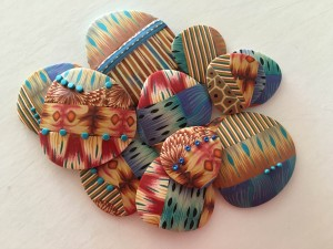 Cane collage: Brooch, buttons, barrettes, bracelets